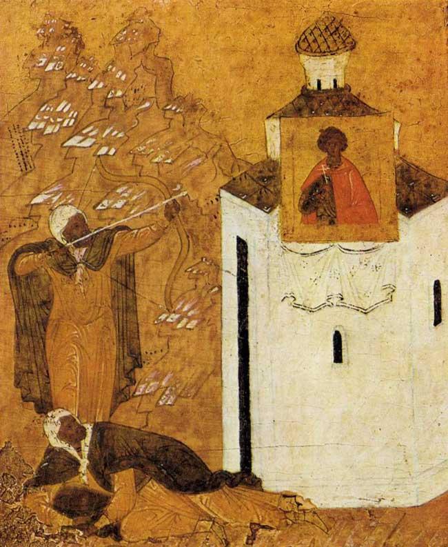 Les infidèles tirant sur l'icône de St. George
